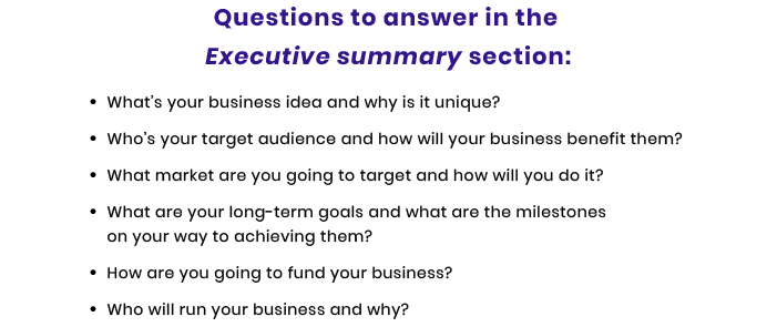 executive summary questions for technology startup