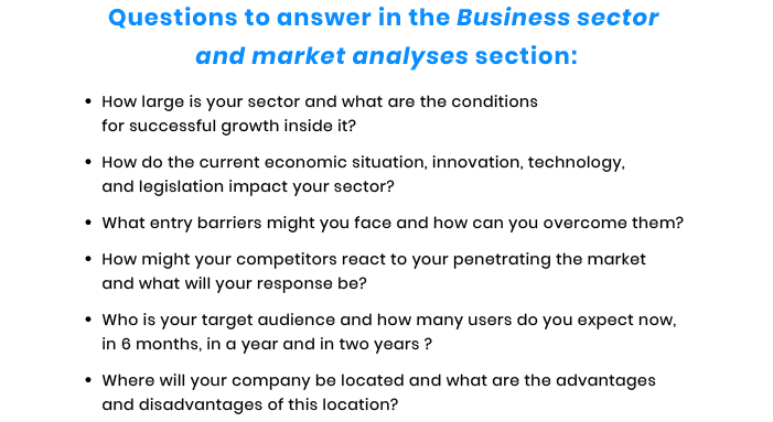 sector and market questions for tech startup