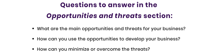 opportunities and threats questions for tech startup