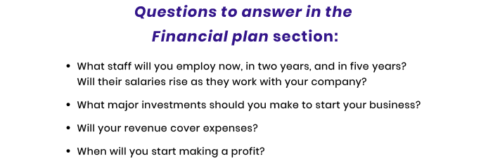 financial plan questions for tech startup