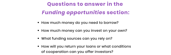 funding questions in tech startup business plan